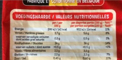 Frites belges - Nutrition facts - fr