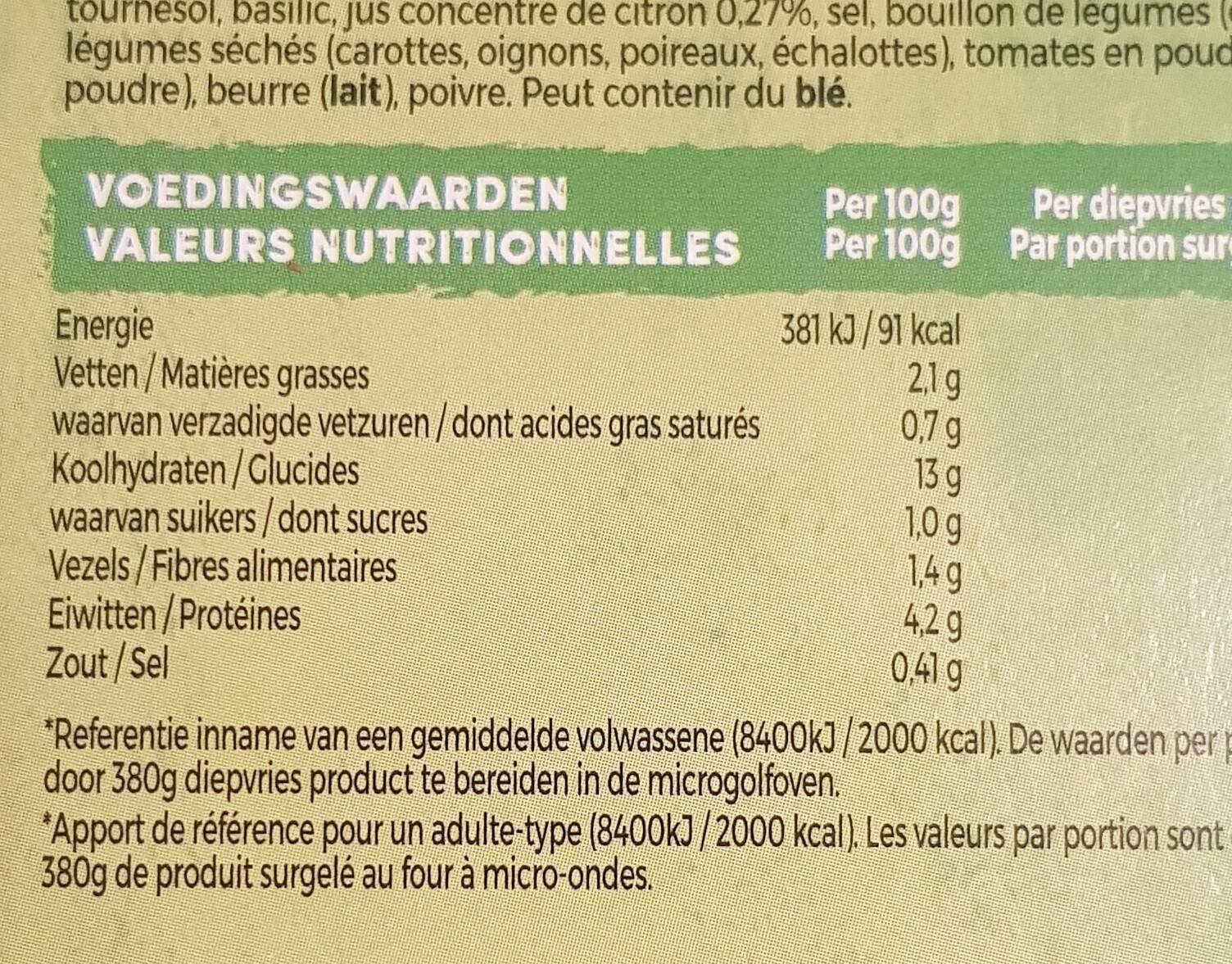 Veggie bowl risotto au citron - Voedingswaarden