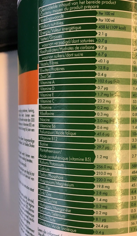 Yokebe Maaltijdshake Poeder 10X50GR + Shaker - Nutrition facts