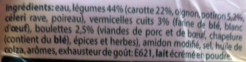 Soupe Julienne Carottes-potirons Avec Boulettes - Ingrediënten - fr