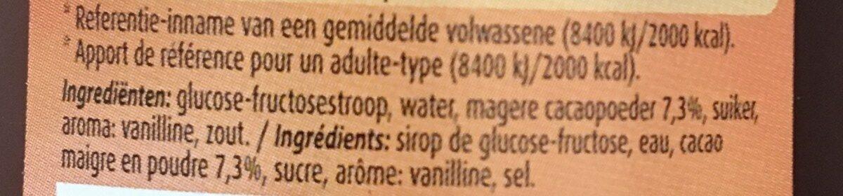 Chocolat liquide - Ingrediënten