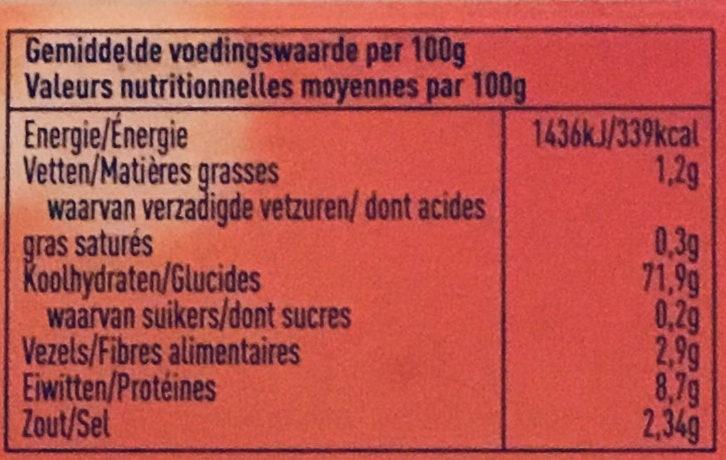 Farine fermentante - Voedingswaarden
