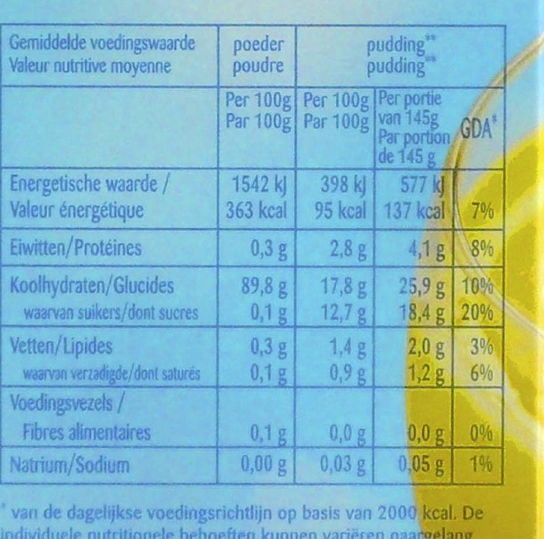 Pudding Powder goût Vanille - Nutrition facts - fr