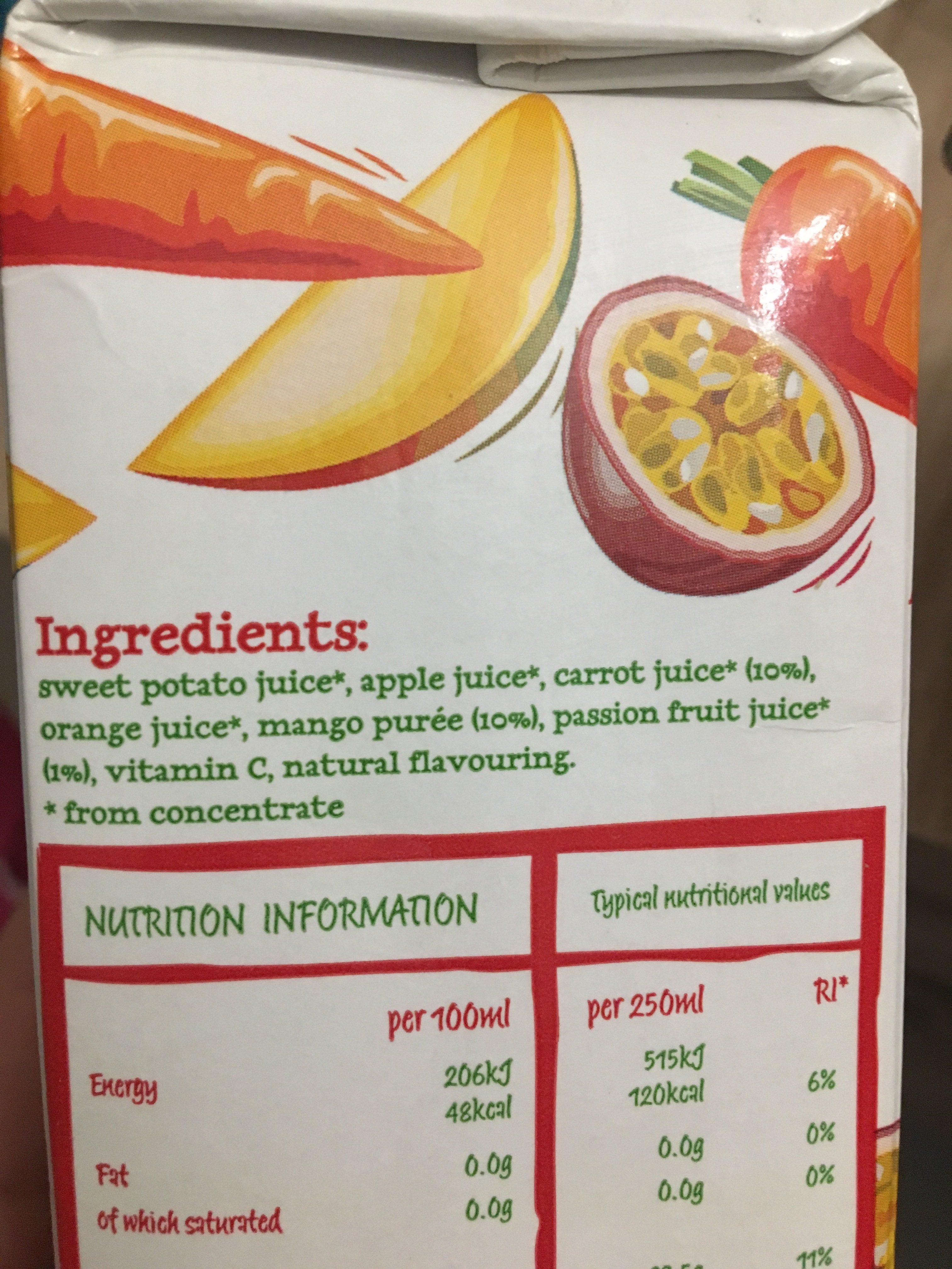 V8 Fusion Passion Fruit Mango and Carrot - Ingrediënten