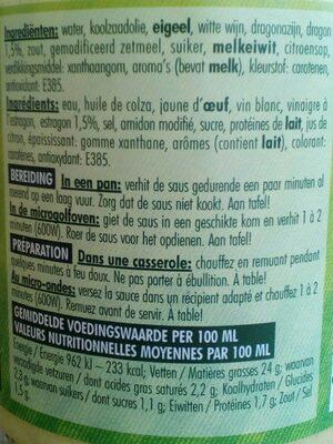 Béarnaise - Ingrédients