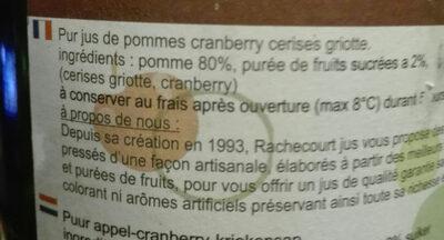Jus pommes cranberry cerises griottes - Ingrediënten - fr