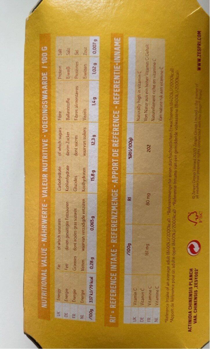 Zespri Sun Gold - Kiwifruit - Valori nutrizionali - fr