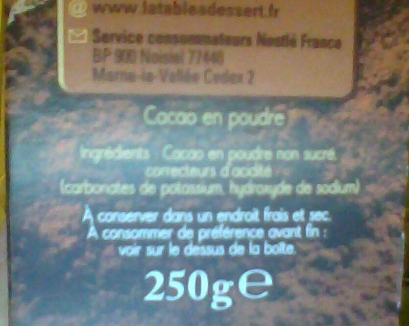 Chocolat en poudre - Ingrédients - fr