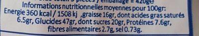 Galettes artisanales au sucre perlé - Voedingswaarden - fr