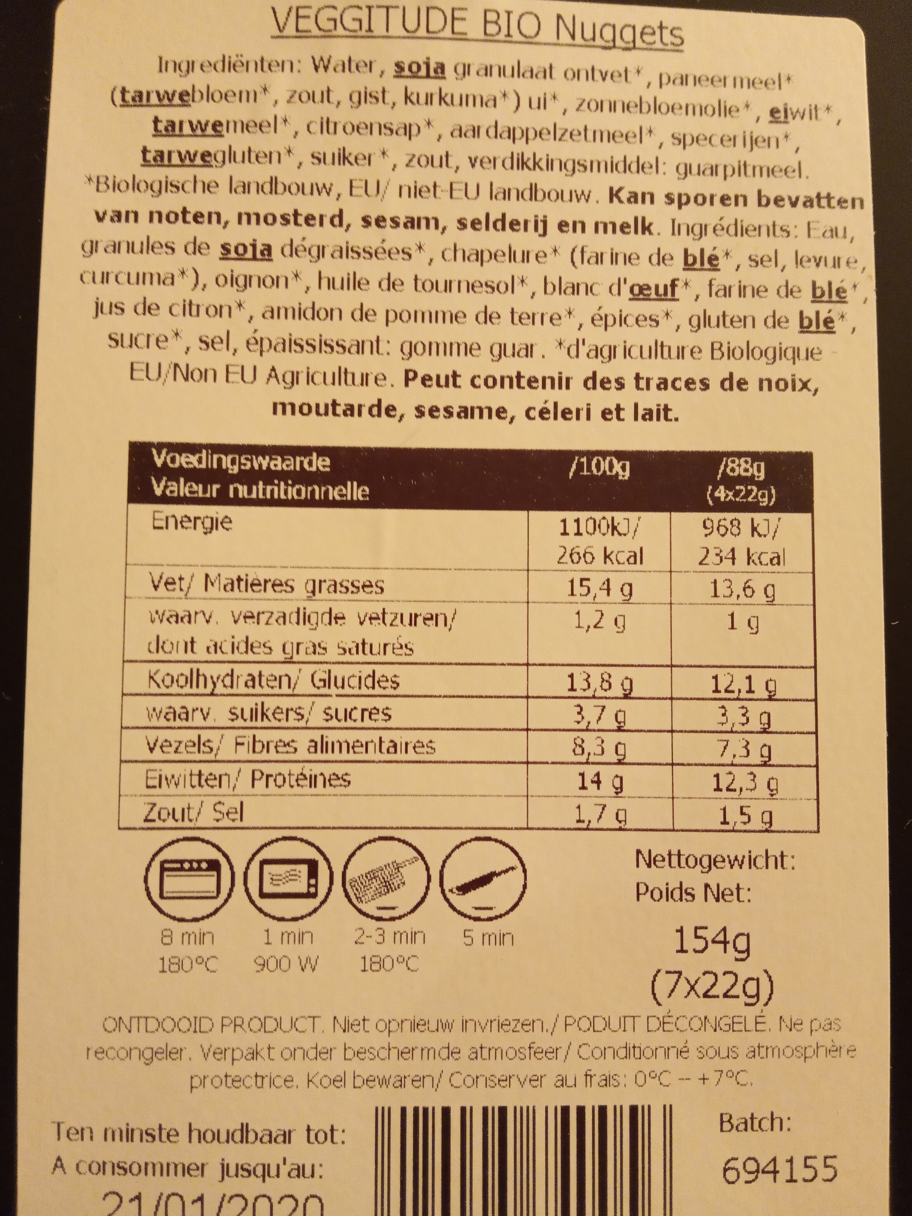 Nuggets Vegetariani 154 G - Nutrition facts - fr