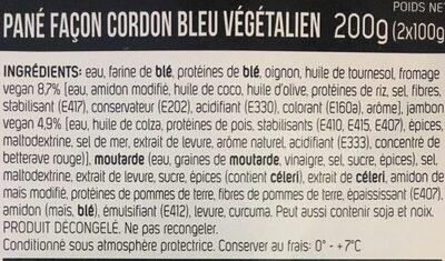 Pané façon cordon bleu végétalien - Ingrediënten - fr