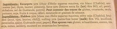 Escargots petits gris - Ingrediënten