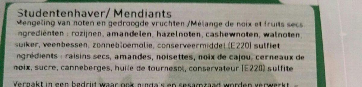 Mendiants - Ingredients - fr