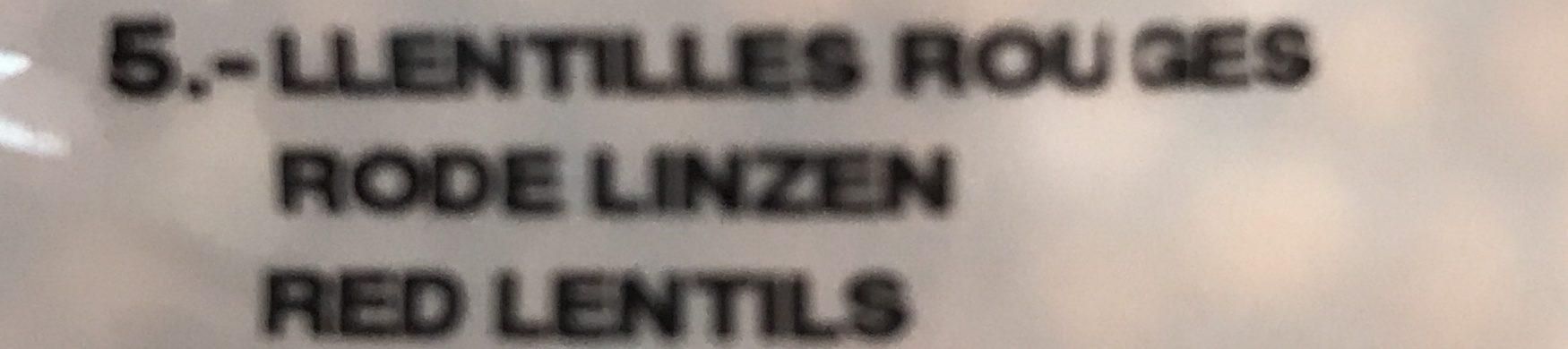 Lentilles rouges - Ingrediënten - fr