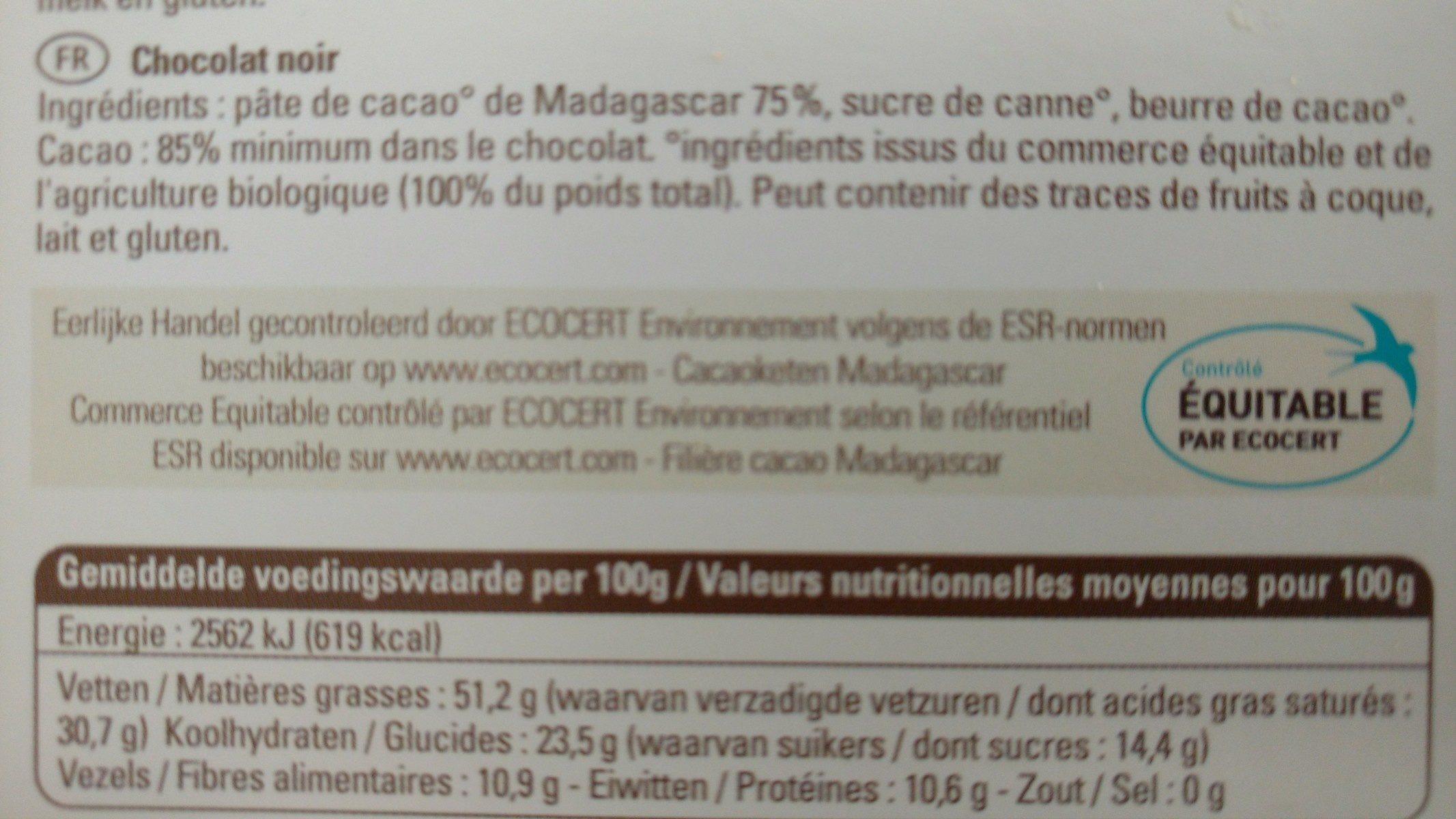 Ethiquable 85% Madagascar Cacao Grand Cru Sambirano - Ingrediënten - fr