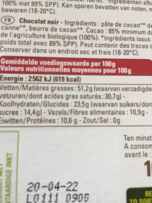 Ethiquable 85% Madagascar Cacao Grand Cru Sambirano - Voedingswaarden - fr