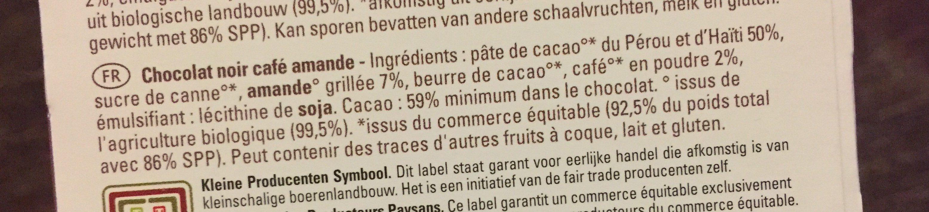 Dark chocolate coffee almond - Ingrediënten - fr