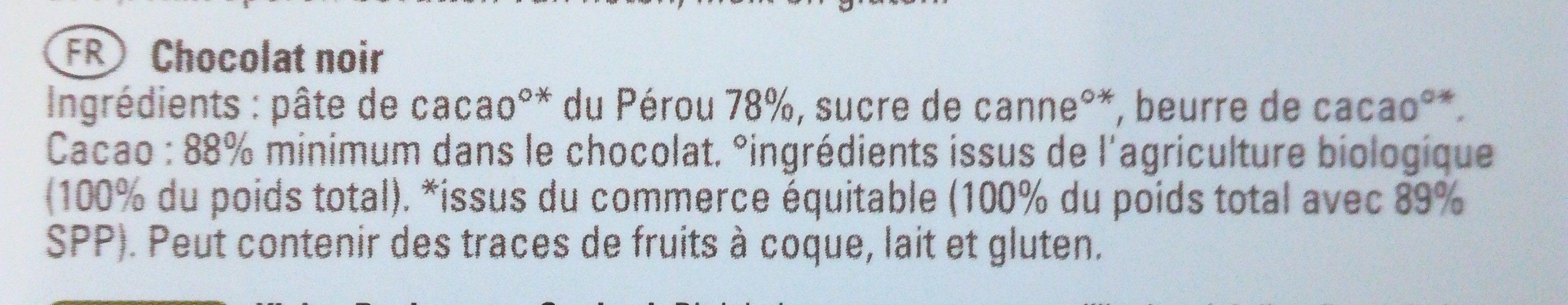 Chocolat 88% Peru - Ingredients