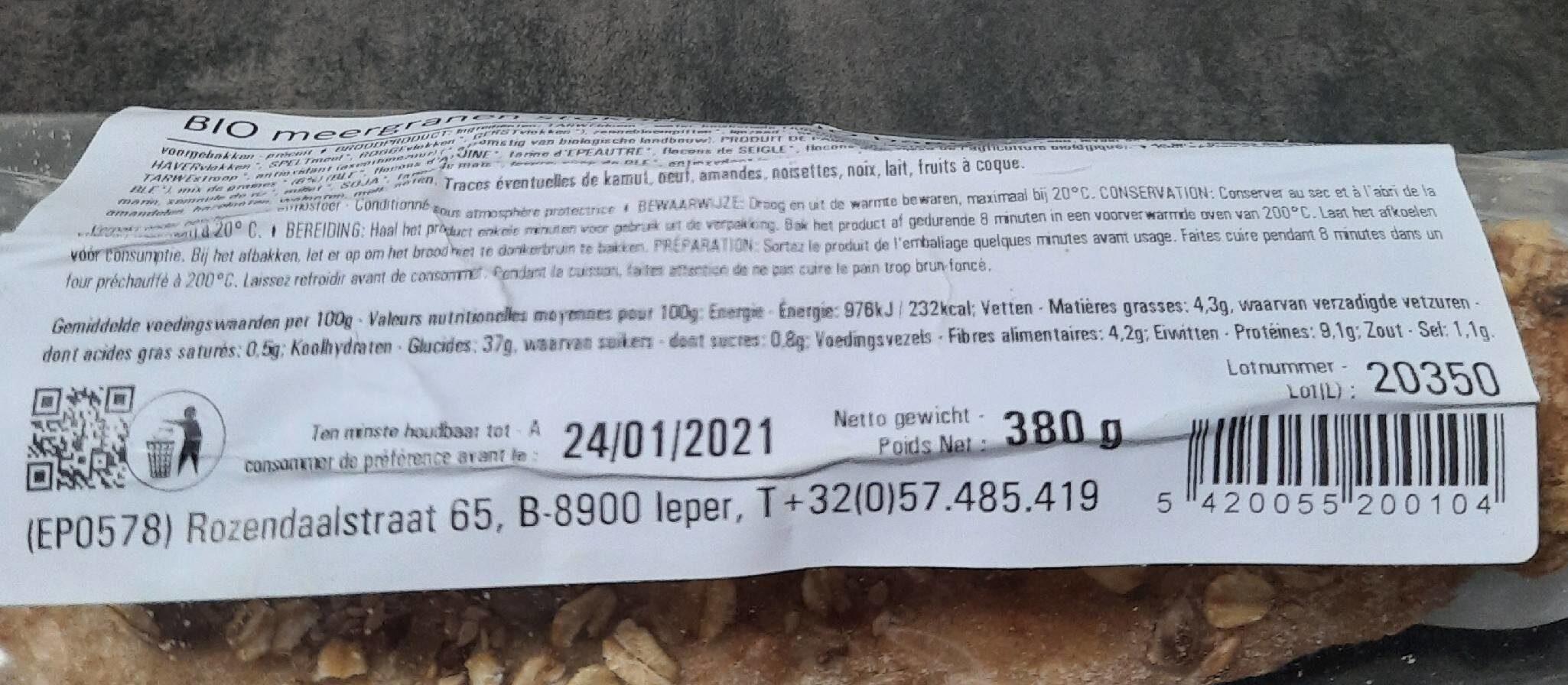 BAGUETTE MULTICEREALES - Voedingswaarden - fr