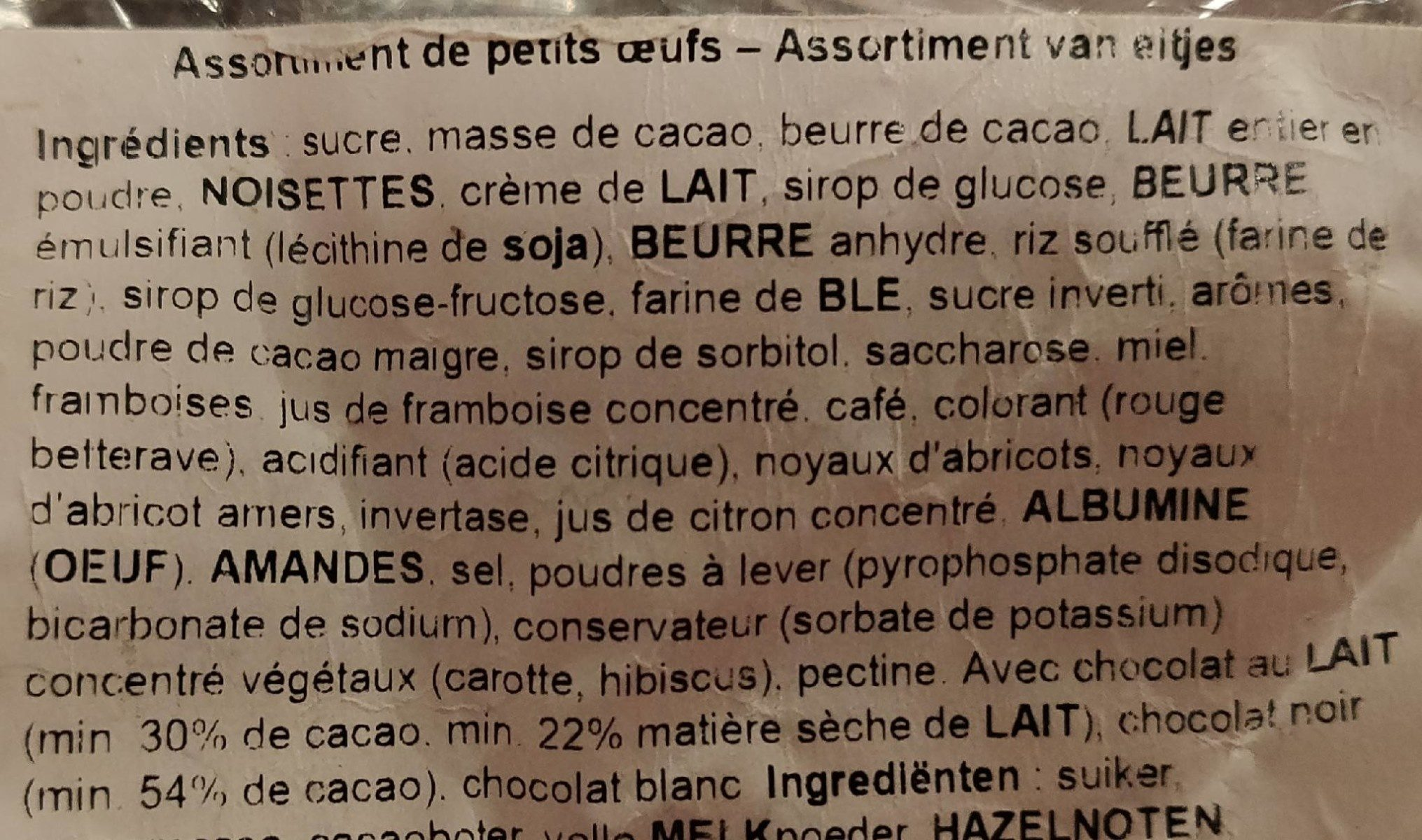 Maître chocolatier - Ingrédients