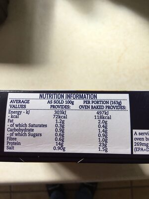 2 Fish Chargrills lemon & thyme - Nutrition facts - en