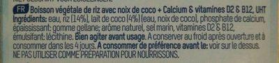 Lait riz & coco (1L) - Ingrédients - fr