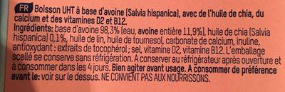 Lait avoine chia - Ingrédients - fr
