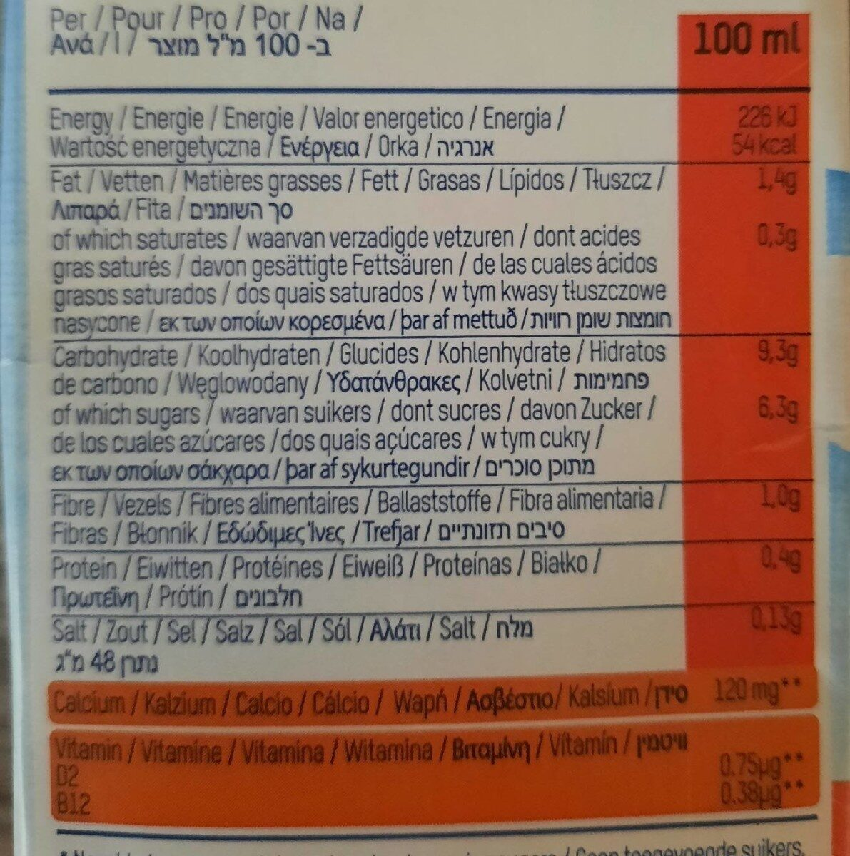 Ont dream - Nutrition facts - nl