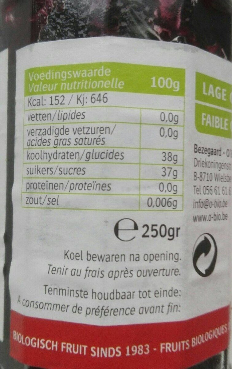 Bosbes confituur - Nutrition facts - fr
