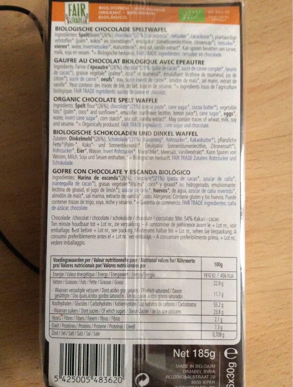Biscovit Chocolade Wafel (D) - Voedigswaarden