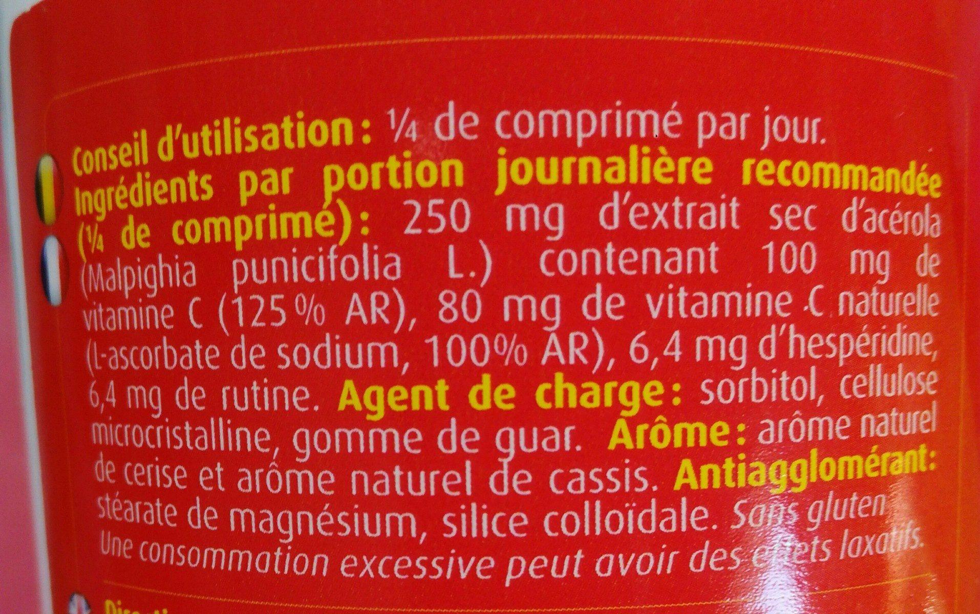 Acerola C-max 720MG - 150 Comprimés - Orthonat - Ingredients - fr