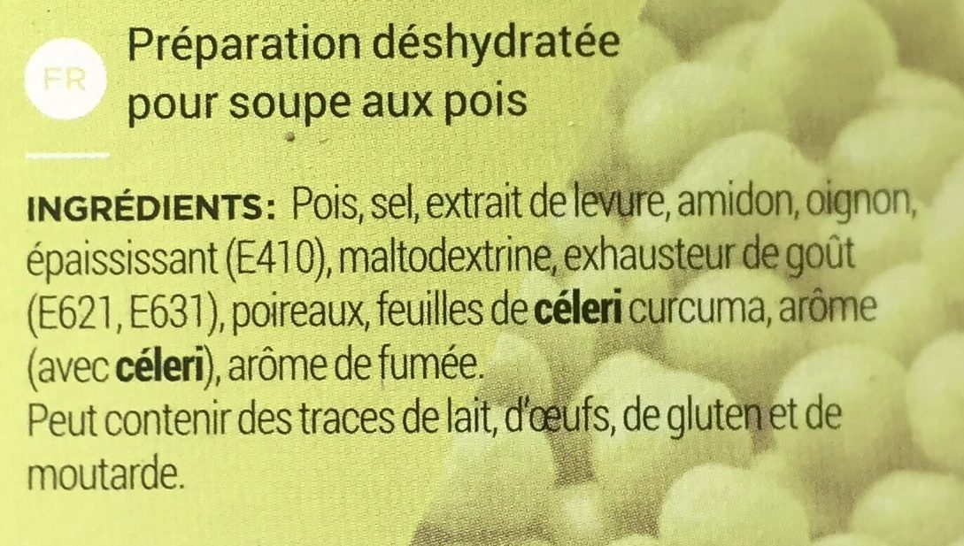 Préparation pour Soupe auxPois - Ingrédients