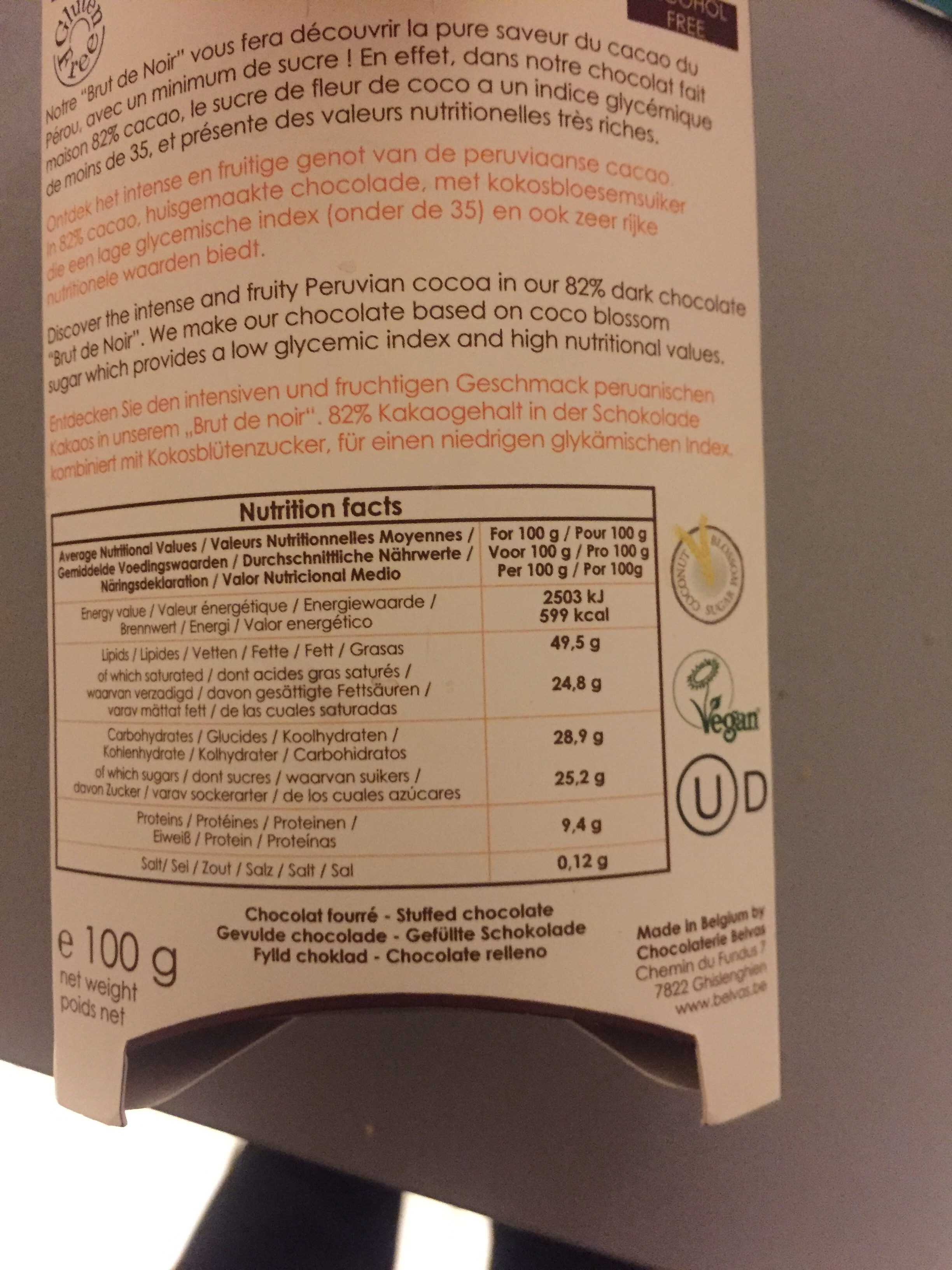 Brut de Noir 82% - Nutrition facts - fr