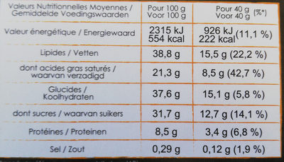 Chocolat noir amandes - Voedingswaarden - fr