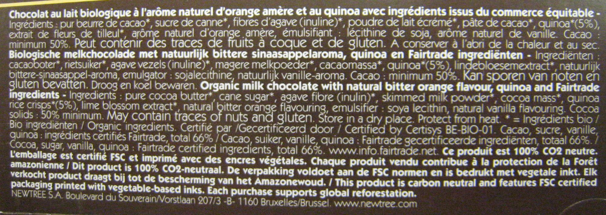Chocolat Orange amère NewTree - Ingredientes