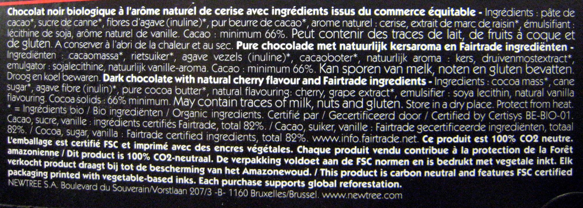 Chocolat Cerise NewTree - Ingrédients - fr