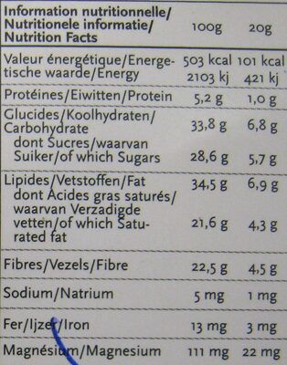 Chocolat Cerise NewTree - Informations nutritionnelles - fr