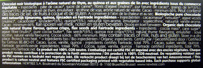 Chocolat Thym NewTree - Ingredientes