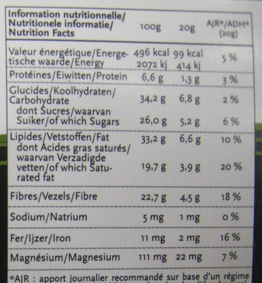 Chocolat Thym NewTree - Información nutricional