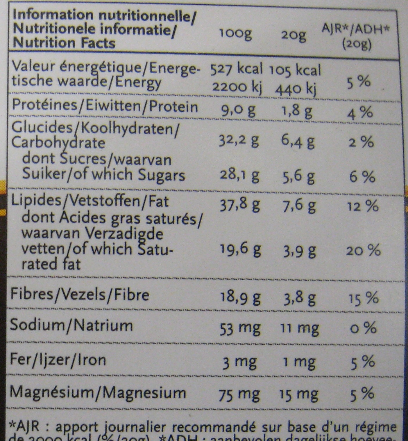 Chocolat Amandes NewTree - Informations nutritionnelles - fr