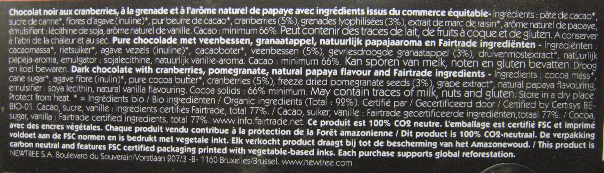 Chocolat Superfruit NewTree - Ingredientes