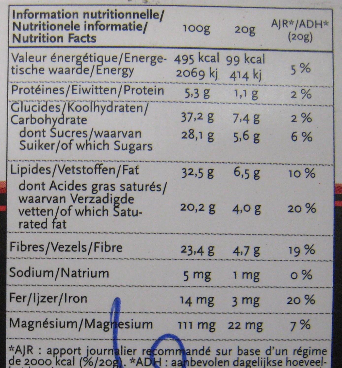 Chocolat Superfruit NewTree - Información nutricional