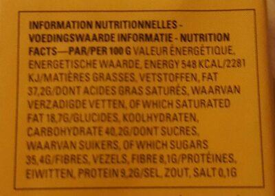 Barre Chocolat Noir Praliné Croquant - Informations nutritionnelles - fr