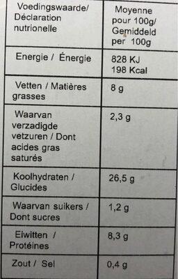 SEITAN CORDON BLEU - Nutrition facts - fr