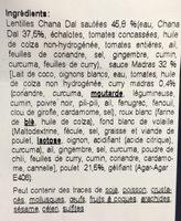 Poulet madras & lentilles - Ingrédients - fr