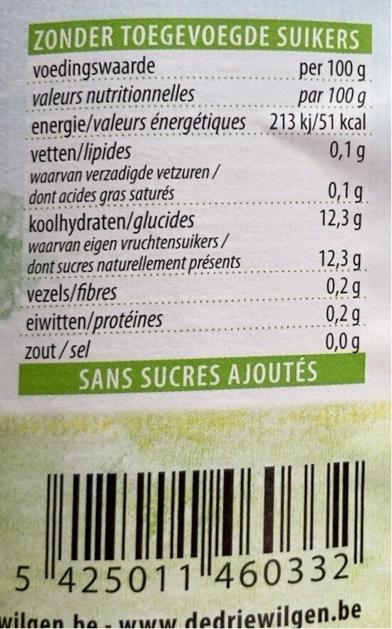 Jus pommes bananes - Nutrition facts - fr
