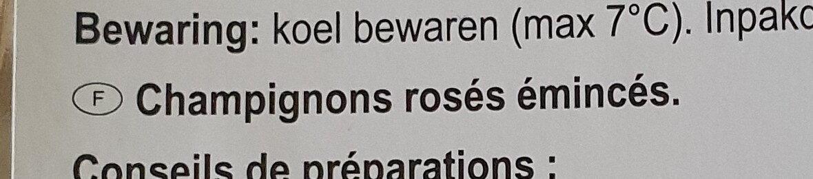 Champignons rosés émincés - Ingrediënten - fr