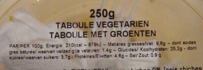 Taboule Vegetarien - Informations nutritionnelles - fr