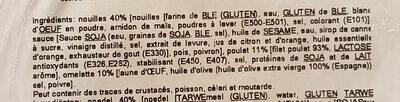 Nouilles poulet - Ingrediënten - fr