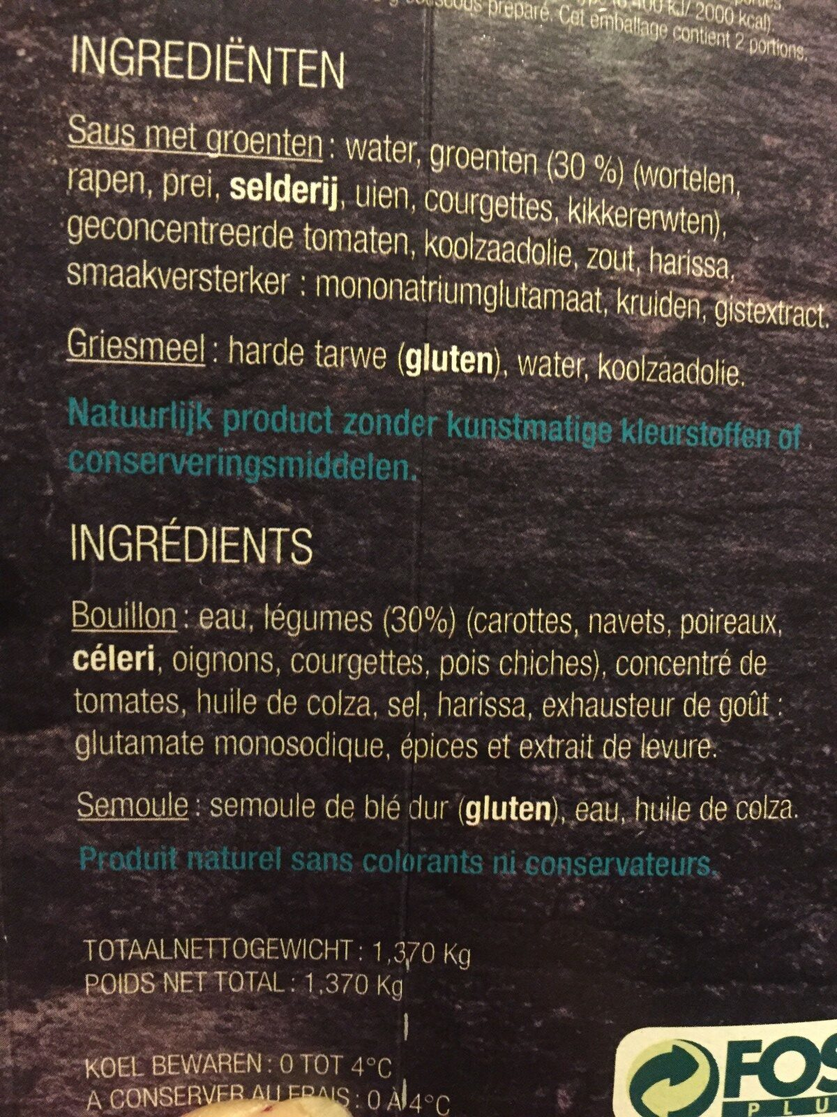 Couscous - Ingrédients - fr